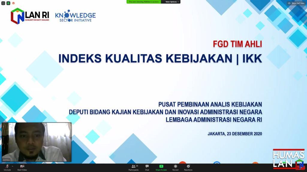 Pacu Perbaikan Kualitas Kebijakan Nasional, LAN Gandeng Tim Ahli Telaah Penyempurnaan Indeks Kualitas Kebijakan (IKK)